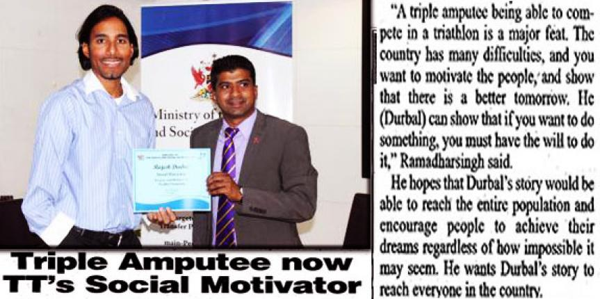 Triple amputee Rajesh Durbal Appointed Social Motivator